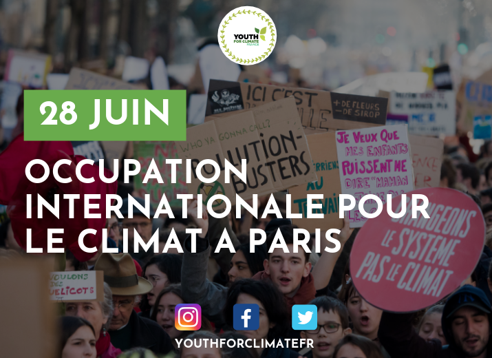 COMMUNIQUÉ DE YOUTH FOR CLIMATE : OCCUPATION DU 28 JUIN À PARIS