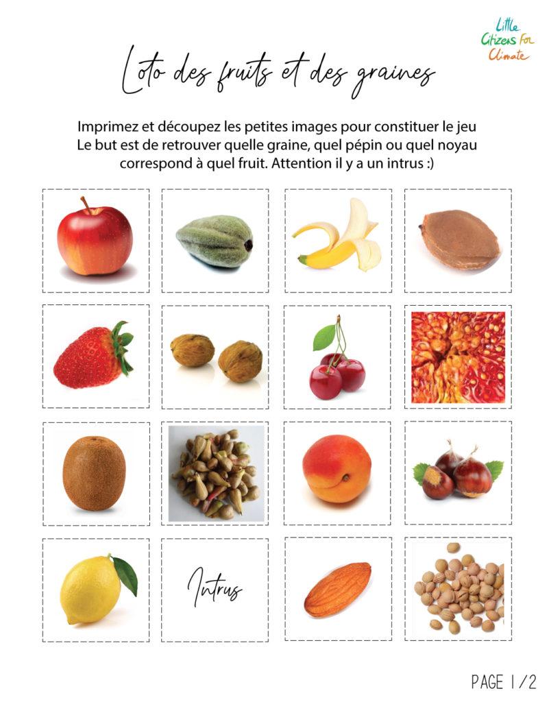 Planche loto des fruits 1/2